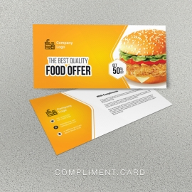Foods and Restaurant Compliment Card With Yellow Accent