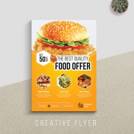Foods and Restaurant Flyer With Yellow Accent