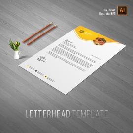 Foods and Restaurant Letterhead With Yellow Accent