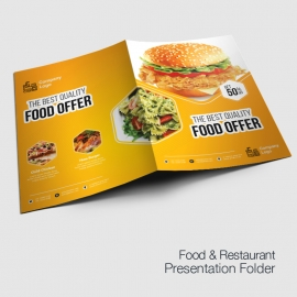 Foods and Restaurant Presentation Folder With Yellow Accent