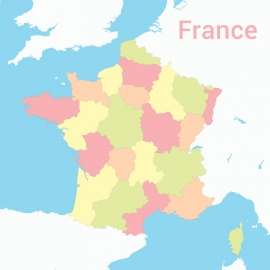 France Map Colorfull Vector Design
