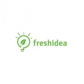 Fresh Idea Logo with Green Leaf and Bulb Light Symbol