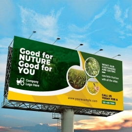 Garden Farm Agriculture Billboard Sinage With Green Accent