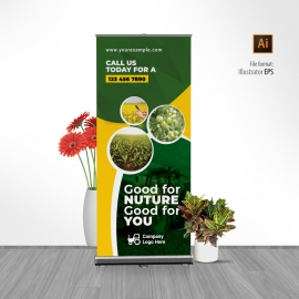 Garden Farm Agriculture Rollup Banner With Green Accent