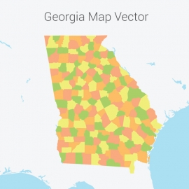 Georgia Map Colorful Vector Design