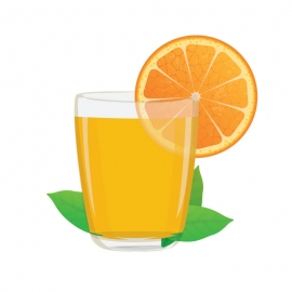 Glass With Orange Vector