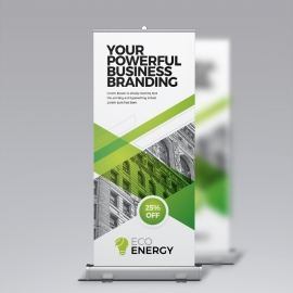 Green Accent Business Rollup Banner With Abstract