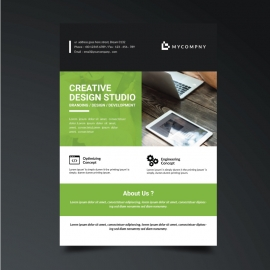 Green Accent Corporate Business Flyer