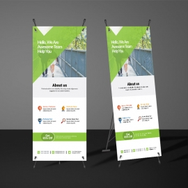 Green Accent Rollup Banner