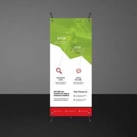 Green And Red Rollup Banner