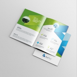 Green & Blue Bifold Brochure With Abstract