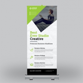 Green Blue Business Roll-Up Banner