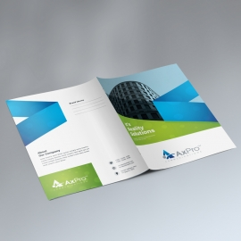 Green & Blue Presentation Folder With Abstract
