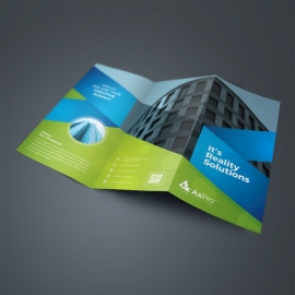 Green & Blue Tri-Fold Brochure With Abstract