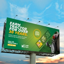 Green Farm Agriculture Billboard Banner With Hexagon