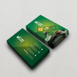 Green Farm Agriculture BusinessCard With Hexagon