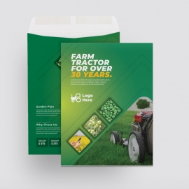 Green Farm Agriculture Catalog Envelope With Hexagon