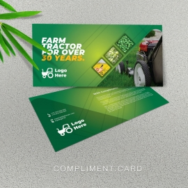 Green Farm Agriculture Compliment Card With Hexagon