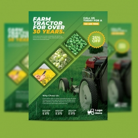 Green Farm Agriculture Flyer With Hexagon