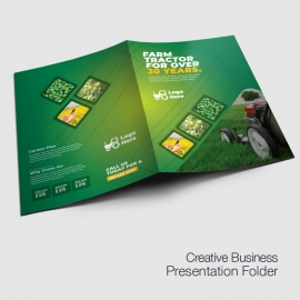 Green Farm Agriculture Presentation Folder With Hexagon