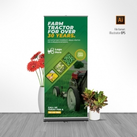 Green Farm Agriculture Rollup Banner With Hexagon