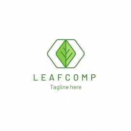Green Leaf Creative Plant Logo with Hexagon & Nature