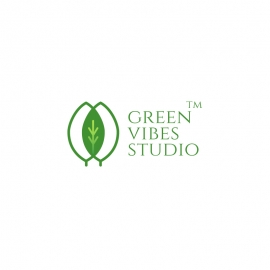 Green Leaf Creative Plant Logo with Triple Leaves & Nature