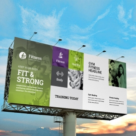 Gym Fitness Billboard Banner With Green Accent