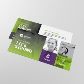 Gym Fitness Business Compliment Card With Green Accent
