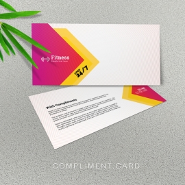 Gym Fitness Compliment Card With Red Accent