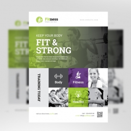 Gym Fitness Flyer With Green Accent