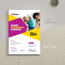 Gym Fitness Flyer With Purple And Yellow Accent