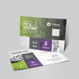 Gym Fitness Post Card With Green Accent
