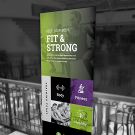 Gym Fitness Rollup Banner With Green Accent