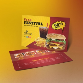 Hamburger Fast Food PostCard Template