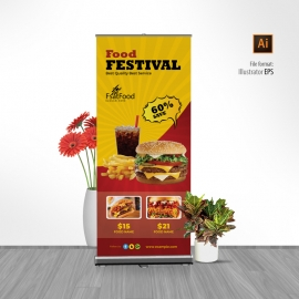 Hamburger Fast Food Rollup Banner