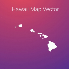 Hawaii Map By Gradient Color Background Vector Design