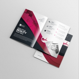 Health & Beauty BiFold Brochure With Black Red Accent
