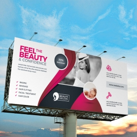 Health & Beauty Billboard Banner With Black Red Accent