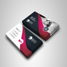 Health & Beauty Business Card With Black Red Accent