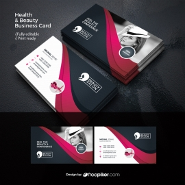 Health & Beauty Business Card With Magenta Accent