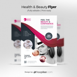 Health / Beauty Flyer With Black And Magenta Accent