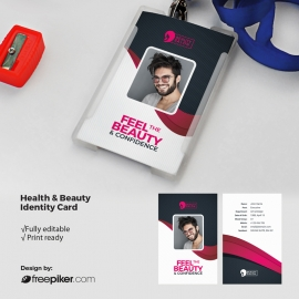 Health & Beauty Identity Card With Dark And Magenta Accent
