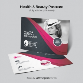 Health / Beauty Postcard With Dark And Magenta Accent