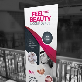 Health & Beauty Rollup Banner With Black Red Accent