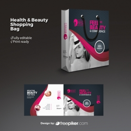 Health & Beauty Shopping Bag With Dark And Magenta Accent