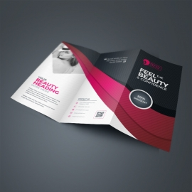 Health & Beauty TriFold Brochure With Black Red Accent