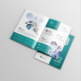 Hexagon Business BiFold Brochure With Paste Accent