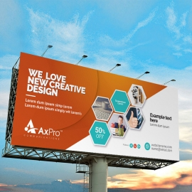 Hexagon Business Billboard Sinage With Orange Accent