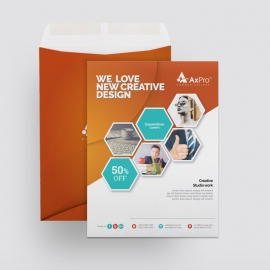 Hexagon Business Catalog Envelope With Orange Accent